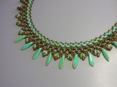 Tutorial Caribbean Sea necklace Superduo and Daggers by zviagil