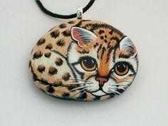 Ocelot kitten, pendant necklace, painted rocks, for the cat lover by RockArtiste