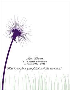 DIY Teachers Appreciation Gift / Personalized Thumbprint Dandelion For Teacher  8x10, 11x14 or 16x20 / Printable PDF