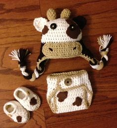 Crochet NB through 12 mos cow outfit cow hat by CrochetbyDestinee, $36.00