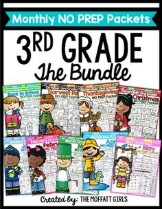This Monthly NO PREP Bundle for 3rd Grade is FILLED with hands-on, engaging and FUN resources that cover core skills for 3rd Grade!  The activities in this packet can be use for  group work , centers, small groups, homework and more! The BEST part is that there is NO PREP!