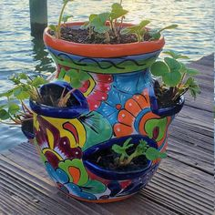 Painted Flower Pots, Ceramic Flower Pots, Painted Pots, Talavera Pottery, Pottery Art, Strawberry Pots, Mexican Ceramics, Pottery Animals, Animal Decor