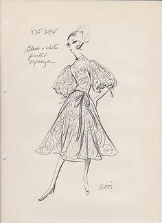 FOUR ORIGINAL VOGUE GRES FASHION STATS FROM THE 50'S