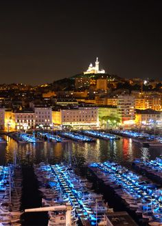 Vieux-Port in Marseille, BdR Haute Provence, Provence France, Velodrome Marseille, France Football, Greek Isles, French Riviera, Travel And Tourism, Archipelago, Night Time