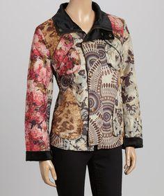 Cream & Pink Faux Suede Jacket by Sacred Threads Boutique #zulily #zulilyfinds