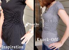 shirred circles shirt tutorial from men's shirt
