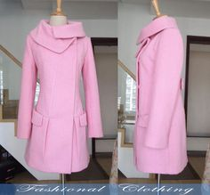 pink blue black red green wool coat winter by FashionalClothing