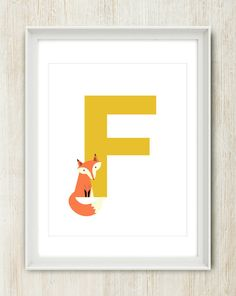 Letter F - Fox - Cute Initial Poster featuring cheeky fox - 8x10 inches on A4