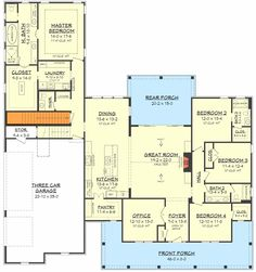 Perfect layout, maybe change island and add screen porch. Fresh Farmhouse Plan with Bonus Room Above Garage - floor plan - Basement Stair Location Floor Plan 4 Bedroom, Basement Floor Plans, 4 Bedroom House Plans, Basement Stairs, Ranch House Plans, New House Plans, Dream House Plans, House Floor Plans, Basement Ideas