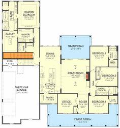 Fresh 4-Bedroom Farmhouse Plan with Bonus Room Above 3-Car Garage - 51784HZ floor plan - Basement Stair Location #farmhouseIdeas