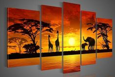 Hand painted Wall Art The Giraffe Elephant Landscape Oil Painting on Canvas 5pcs/set