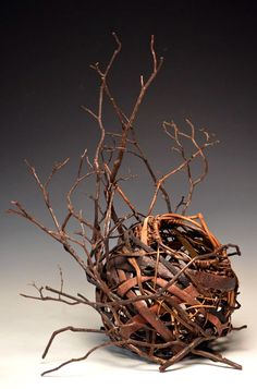 "Matt Tommey, Artist,  Sculptural Piece - Basket nested in laurel branches. 16""x24"""