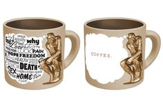 """For the thinker: """"Hot beverage makes his worries disappear, to be replaced by the soothing thought of a mug of coffee."""" 35 Awesome Mugs Every Coffee Lover Will Appreciate"""
