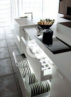 Kitchen Cupboard Organization, Kitchen Cabinet Drawers, Modern Kitchen Cabinets, Smart Kitchen, Kitchen Tops, Modern Kitchen Design, Interior Design Kitchen, Kitchen Storage, Kitchen Decor