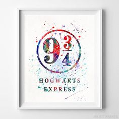 9 3/4, Harry Potter Watercolor Wall Art Poster - Prices from $9.95 - Click Photo for Details - #harrypotter#christmasgift#giftformom#decoration#harrypotterfan #Wallart