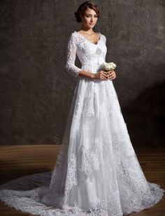 Wedding Dresses with Sleeves and Color | Lace 3/4 Sleeves Vinatge Wedding Dress
