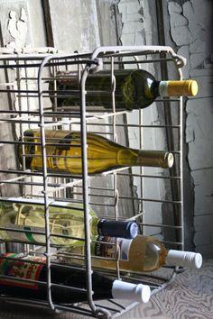 Vintage dairy crate to wine rack
