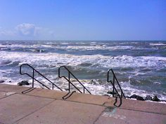 Steps down to the beach off of the Seawall in Galveston