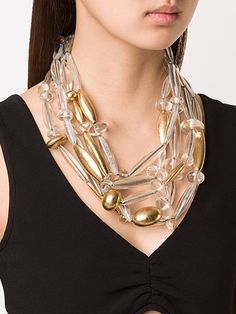 Clear polyacrylic and gold foil multi-strand long bead necklace from Monies. Monies Jewelry, Gold Rings Jewelry, Chunky Jewelry, Statement Jewelry, Beaded Jewelry, Jewelery, Jewelry Necklaces, Long Beaded Necklaces, Bracelets
