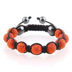 Orange Crystal Shamballa Bracelet.