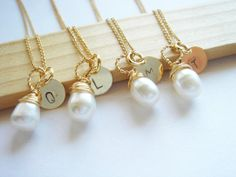 Bridesmaid Gift Set 4 Freshwater Pearl and 14k Gold by Ausentes, $100.00