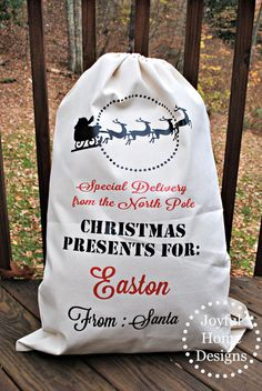 Large Custom Santa Sleigh Sack, Personalized Santa Bag, Christmas Decorations