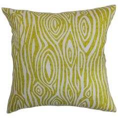 Thirza Swirls Artist Green Feather Filled 18-inch Throw Pillow | overstock