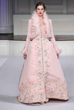 Pink Oscar de la Renta gown with matching feather-trimmed bolero. Tiny silver buttons down the front and delicate pastel and metallic floral embroidery. Pre-Fall 2011.