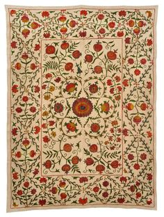 This new 50 x 37 Suzani will make a great wall hanging or a table covering. It has been hand embroidered in the traditional Suzani style of Uzbekistan. The beautiful natural colors of the silk embroidery come from natural dyes and are applied to a tan cotton background. Check out our Pinterest and Facebook page to see sophisticated room design ideas for Suzanis.  - Authentic Uzbekistan hand embroidery  - Ships from the U.S.  - Silk embroidery on cotton fabric  - 50 x 37  Product Disclaimer…