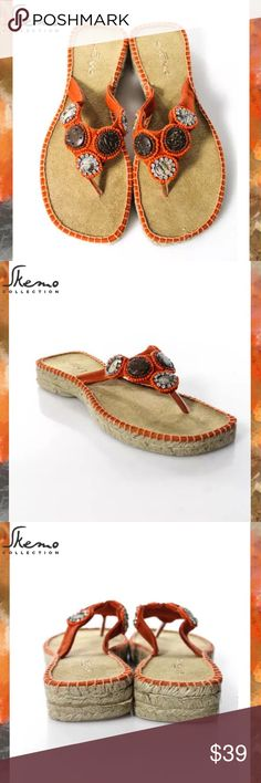 SKEMO Chic Orange/Beige Beaded Espadrille Sandals 💥NEW IN BOX💥 SIZE 7. Orange, Silver, Gray & Brown Bead Colors. Flip Flop Sandal Style. Espadrille Bottoms. Gorgeous Beaded Detail. Skemo Shoes Espadrilles
