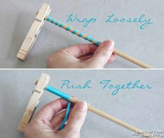"""To make """"corkscrew"""" ribbon strands. Wrap around a dowel, push together and secure on both ends with clothespins. Spray with a bit of starch spray and bake in oven at 275 for 25 minutes. **This can also be done to make the """"korker hair bows."""