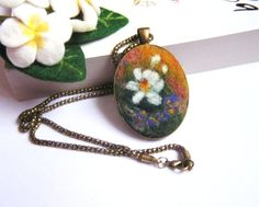 Felt Pendant Necklace with White flower by lannarfelt on Etsy, $26.00