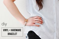 studs and pearls: diy: Vinyl & Hardware Bracelet Arm Party, Studs, Creativity, Hardware, T Shirts For Women, Pearls, Lifestyle, Bracelets, Diy