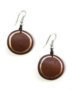 Brown Round Wooden Earrings