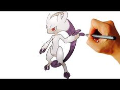 How to draw Mega Mewtwo Y from Pokemon X Y 6 Gen easy step by step drawing - YouTube
