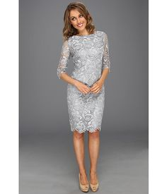Eliza J 3/4 Sleeve Lace Sheath Dress Grey - Zappos.com Free Shipping BOTH Ways $108