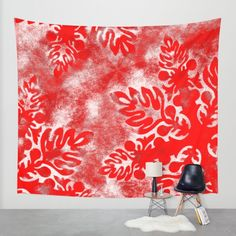 Red Snow Wall Tapestry by Vikki Salmela | Society6, #traditional #red #Hawaiian #tropical quilt #design inspired this #holiday #winter wall #tapestry. Great #home #decor, decorate walls, use as #curtains or table #decoration. Coordinating products available; #rugs, #duvet covers, #mugs and more.