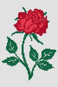 Single Red Rose cross stitch pattern