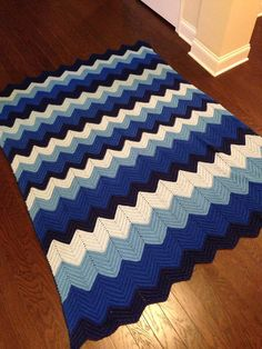 Blue white vintage chevron afghan handmade blanket