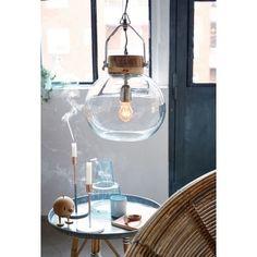 Deckenleuchte, modern, Glas, Holz Vorderansicht