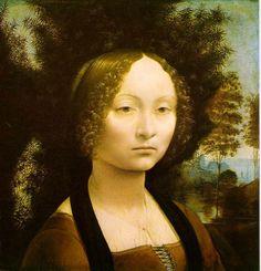 Leonardo da Vinci Ginevra de' Benci ; 1474 Oil on wood, 38.2 x 36.7 cm (15 1/8 x 14 1/2 in); National Gallery of Art, Washington, DC 레오나르도 다빈치의 초기작품으로 그의 대표적인 작품 모나리자와는 다른 느낌을 준다. 구도가 가슴부터 윗부분을 잡았기 때문에 약간 단조로운 느낌을 주고 있고 모나리자의 완벽한 구조와는 거리가 있어 보인다. 하지만 인물의 디테일을 표현하는 부분에서 회화 스킬은 높은 수준이라는 것을 알 수 있다. 이 그림의 뒤에는 종려와 월계수, 그리고 소나무가 그려져 있고 [아름다움은 덕을 장식한다.]라는 글씨가 작품 뒤쪽에 기록되어 있다. 이는 지네브라가 덕을 갖추고 아름다움을 지니고 있다는 것을 의미한 것이다.