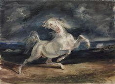 Lightning startled horse by Eugène Delacroix, 1825-1829. Szépművészeti Múzeum, CC-BY-NC-ND