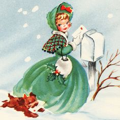 A pretty young lady in green and white and her dog visit ther mail box in htis cene from a vintage (circa Christmas card. Images Vintage, Vintage Christmas Images, Retro Christmas, Vintage Holiday, Christmas Pictures, Christmas Posters, Christmas Girls, Christmas Print, Victorian Christmas