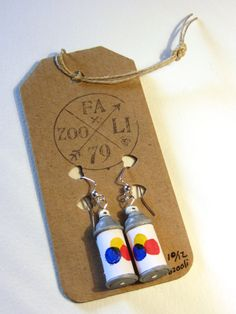 Limited Edition Handmade Graffiti Spray Can Earrings by Julie Fazooli