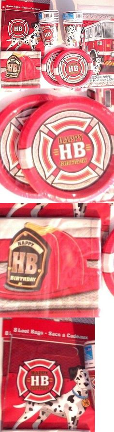 FIRE FIGHTER Birthday Party Supplies Set Pack Kit w// Loot Bags