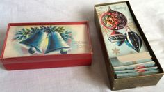 2 Boxes Vintage 1960s Unused Christmas Cards & Env Gibson Hollywood Bells Balls