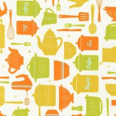 Suburbia Kitchen Fabric by Caleb Gray for Robert Kaufman, Suburbia Kitchen in Earth- Fat Quarter