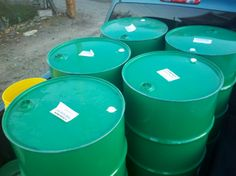 55 gal. olive oil drums will be recycled as rain harvesting barrels for the chicken coop and for the roof of our home.