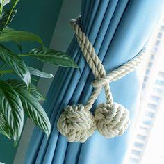 【包邮】纯手工美式乡村田园棉绳窗帘扣窗帘绳绑带绑绳流苏挂球