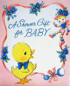 Vintage Baby Shower Card - 1958